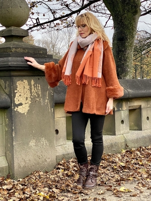 Tree Of Life Rust Cashmere Mix Scarf
