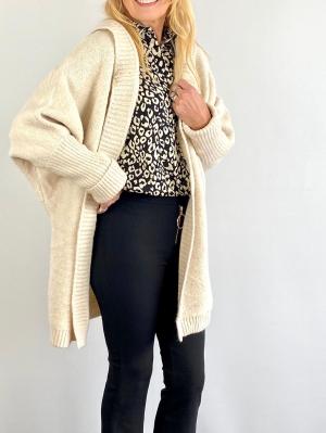 Long Cream Chunky Knit Cardigan