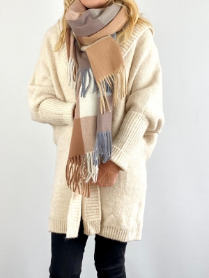 Cream Bold Check Winter Scarf