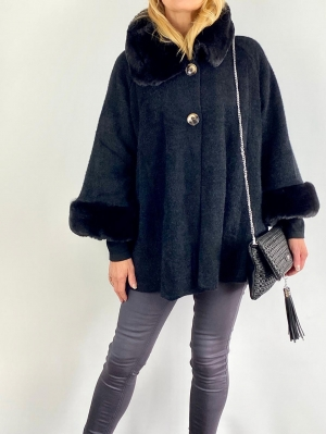 Black fur swing coat