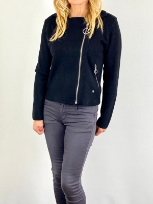 black zip cardigan