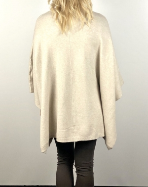 Cream Button Poncho Jumper  Thumb