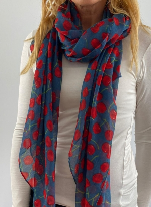 Spotted red & blue scarfe Thumb