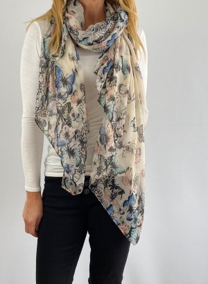 light blue and white scarf Thumb