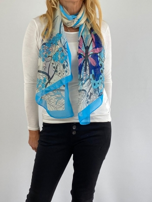 sky blue and white scarf