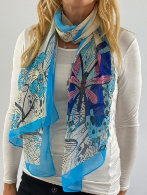 sky blue and white scarf Thumb