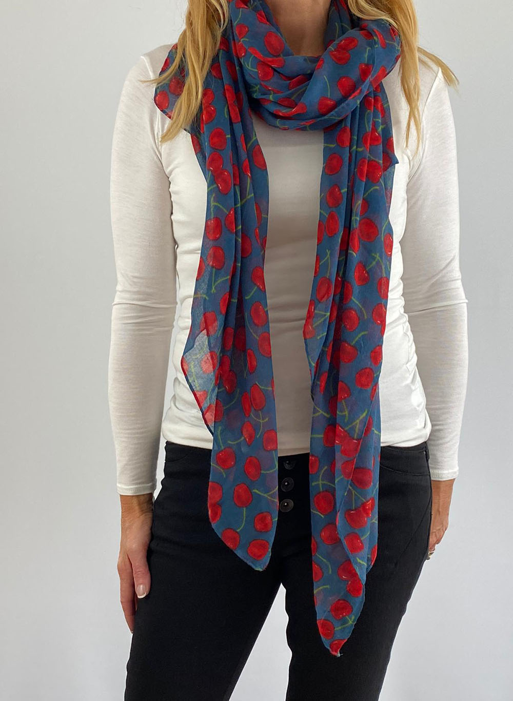 Spotted red & blue scarfe Main