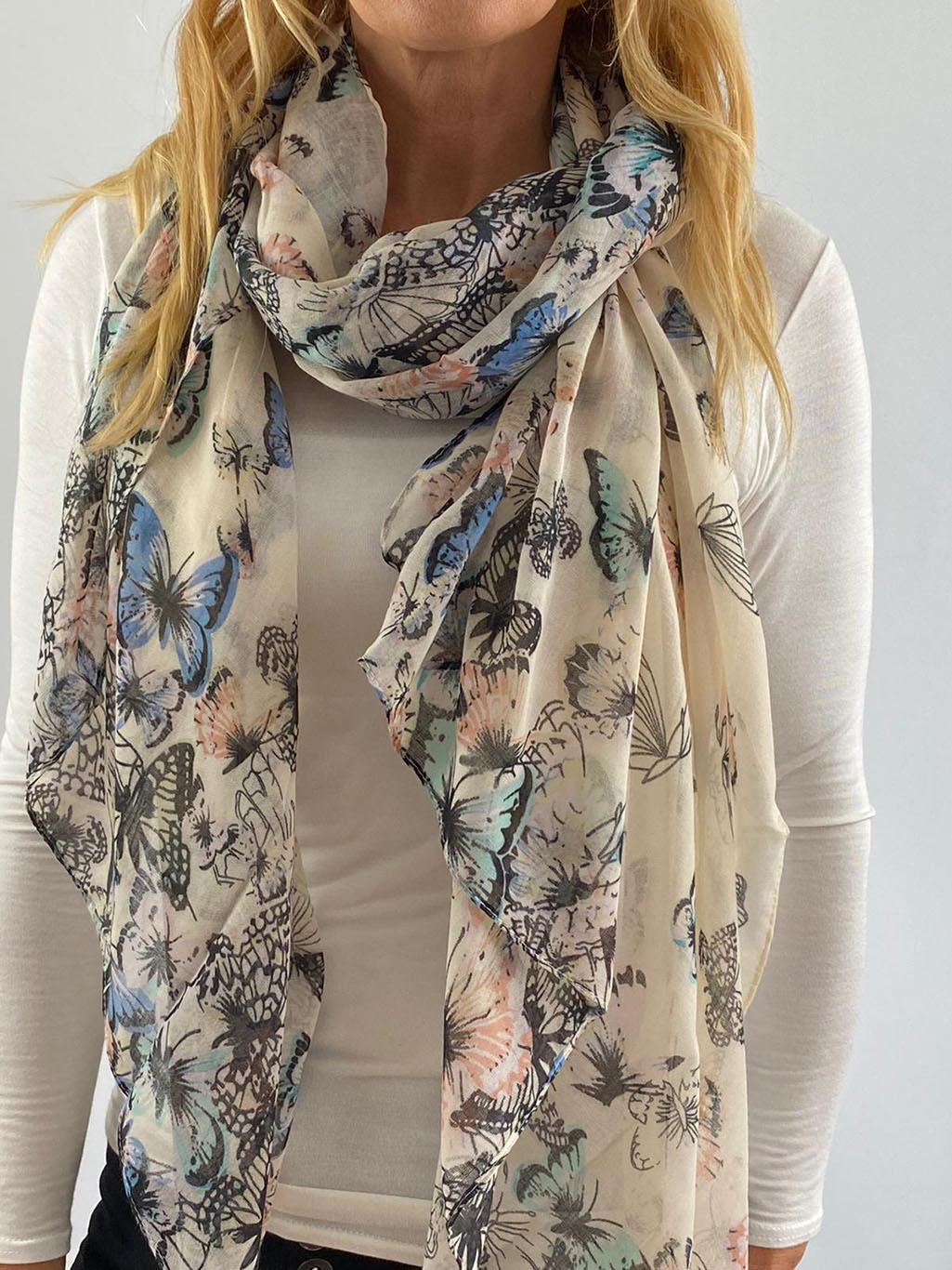 light blue and white scarf Main